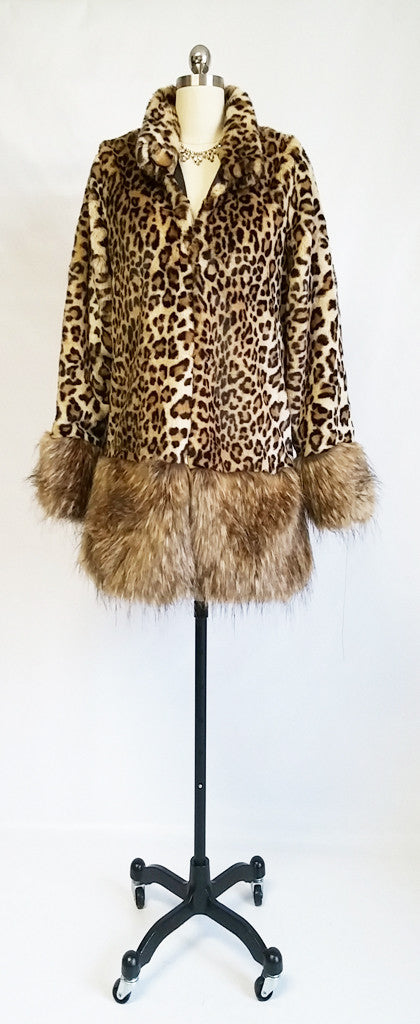 NEW BEAUTIFUL FAUX LEOPARD FUR  & FAUX FOX FUR COAT - GREAT FOR FALL OVER JEANS OR SLACKS