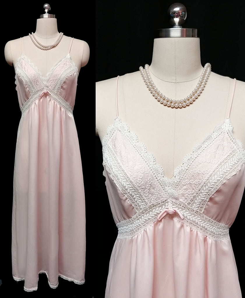 VINTAGE 1970 - 1980s CHRISTIAN DIOR SATIN EMBROIDERED LACE NIGHTGOWN IN ROMANCE