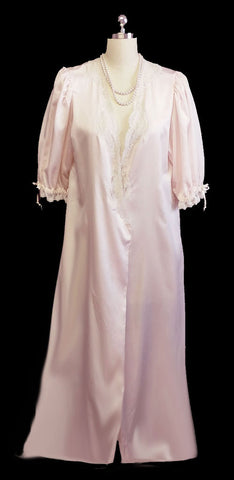 VINTAGE CHRISTIAN DIOR FROM SAKS FIFTH AVENUE SATINY DRESSING GOWN PEIGNOIR IN PALE PINK