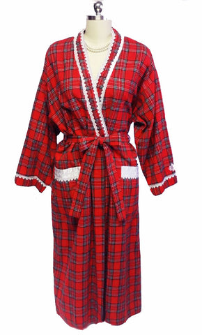 SOLD  - VINTAGE UNIQUE CHRISTIAN DIOR NEIMAN MARCUS SATIN TRIM ROBE WITH EMBROIDERED DIOR LOGO IN RED TARTAN PLAID