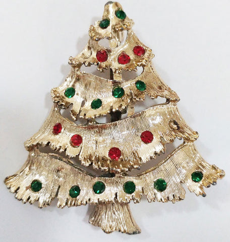 VINTAGE '60s SPARKLING RED & GREEN RHINESTONE CHRISTMAS TREE PIN / BROOCH