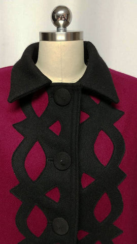 VINTAGE 80S CINDY OWINGS DESIGNS JACKET W BLACK APPLIQUES COIL BUTTONS - MADE IN U.S.A.