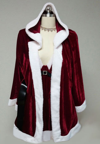 NEW WITH TAGS - GORGEOUS SCARLET FAUX FUR CINEMA ETOILE SEDUCTIVE WEAR 3 PC SANTA PEIGNOIR, NIGHTGOWN & PANTIES SET - SIZE 1 X - WOULD MAKE A LOVELY GIFT