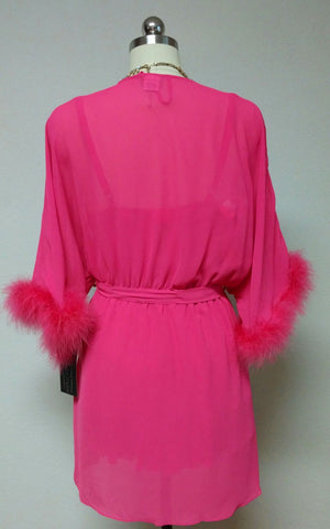 GORGEOUS HOT PINK MARABOU CINEMA ETOILE SEDUCTIVE WEAR POM POMS 3 PC PEIGNOIR, NIGHTGOWN & PANTIES SET - SIZE LARGE - NEW WITH TAGS - WOULD MAKE A LOVELY GIFT