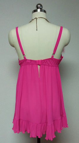 GORGEOUS HOT PINK MARABOU CINEMA ETOILE SEDUCTIVE WEAR POM POMS 3 PC PEIGNOIR, NIGHTGOWN & PANTIES SET - SIZE MEDIUM - NEW WITH TAGS - WOULD MAKE A LOVELY GIFT