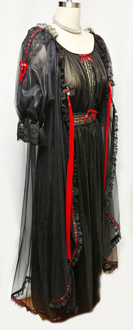 SOLD - VINTAGE CINEMA ETOILE BLACK LACE PEIGNOIR & NIGHTGOWN SET ADORNED WITH RED SATIN RIBBONS AND BOWS