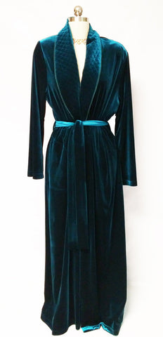 SOLD - NEW - DIAMOND TEA LUXURIOUS WRAP-STYLE QUILTED VELVET VELOUR ROBE IN CLASSIC TEAL - SIZE LARGE #2