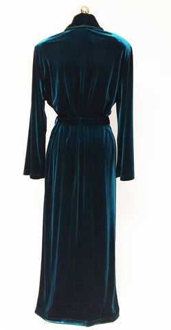 NEW - DIAMOND TEA LUXURIOUS WRAP-STYLE QUILTED VELVET VELOUR ROBE IN CLASSIC TEAL - SIZE LARGE #2