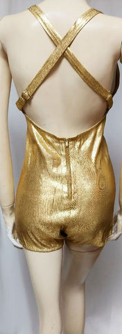 VINTAGE 1950s COLE OF CALIFORNIA METAL ZIPPER BOMBSHELL SHIMMERING GOLD LAME PINUP SWIM SUIT