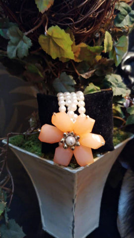 NEW - HUGE PINKY CORAL FLOWER BRACELET WITH ROWS OF FAUX PEARLS & BEADS - PERFECT TO GO WITH SPRING & SUMMER DRESSES
