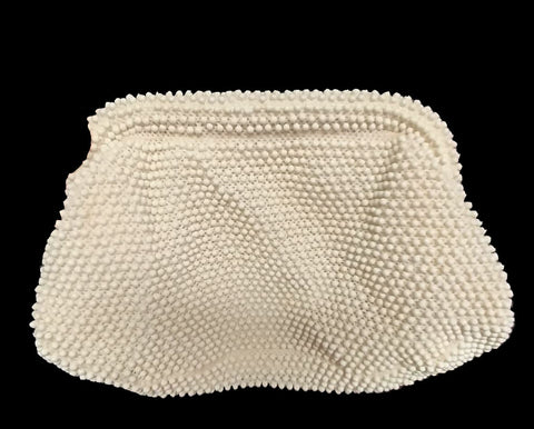 VINTAGE CORDE-BEAD CREAMY WHITE SNAP CLUTCH BAG PURSE - ADORABLE!