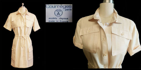VINTAGE ANDRE COURREGES 4 POCKET CLASSIC SHIRTWAIST DRESS WITH ROPE BELT - MADE IN FRANCE