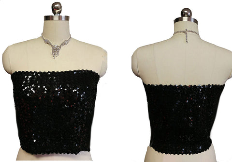 VINTAGE '80s CREATIONS III BLACK SEQUIN EVENING TOP