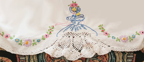 VINTAGE SOUTHERN BELLE COLONIAL LADY CROCHETED & EMBROIDERED BY HAND LACE SKIRT  PILLOW CASE - 1 INDIVIDUAL PILLOW CASE