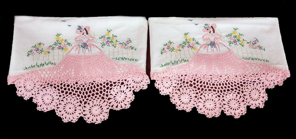 BEAUTIFUL HAND CROCHETED AND EMBROIDERED SOUTHERN BELLE WITH HUGE PINK SKIRT AND BLUE BIRDS PILLOW CASES - 1 PAIR - NEW & NEVER USED
