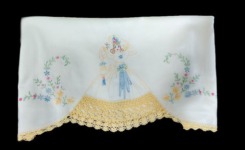 VINTAGE SOUTHERN BELLE COLONIAL LADY WITH PURSE CROCHETED & EMBROIDERED BY HAND LACE SKIRT PILLOW CASE - 1 INDIVIDUAL PILLOW CASE