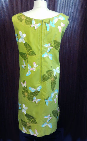 VINTAGE '50s / '60s CUSTOM MADE BY HAZEL FROM WAIKIKI DRESS WITH 3D BUTTERFLIES ON THE SHOULDER & METAL ZIPPER
