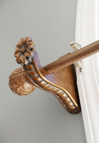 DESIGNER DECORATIVE TWISTED DRAPERY ROD POLE WITH GORGEOUS FINIALS - STUNNING DECORATING ACCENT