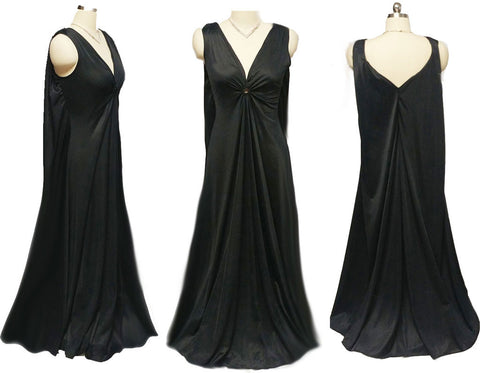 VINTAGE DEENA OLD HOLLYWOOD GRAND SWEEP NIGHTGOWN IN GLAMOUR GIRL BLACK