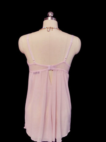 DELICATES LAVENDER DOTTED TULLE BABYDOLL NIGHTGOWN ACCENTED WITH RHINESTONE