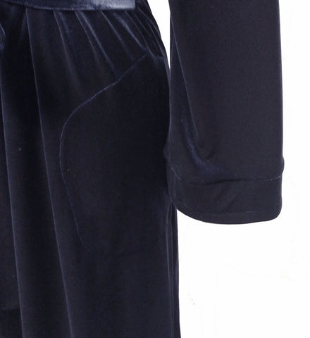 NEW - DIAMOND TEA LUXURIOUS WRAP-STYLE VELVET VELOUR ROBE IN MIDNIGHT NAVY - SIZE SMALL #1 - WOULD MAKE A WONDERFUL GIFT!