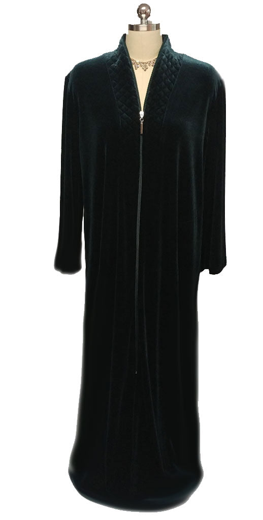 NEW - DIAMOND TEA LUXURIOUS ZIP UP FRONT VELOUR ROBE IN BAYBERRY  - SIZE LARGE #2