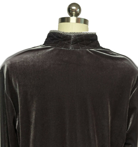 NEW - DIAMOND TEA LUXURIOUS ZIP UP FRONT VELOUR ROBE IN TITANIUM - SIZE LARGE - #2