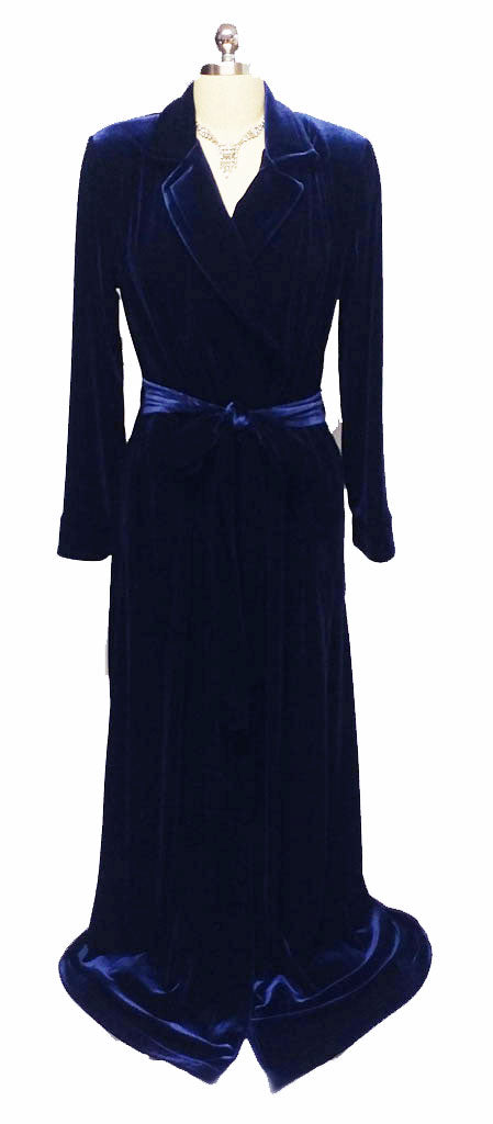 NEW - DIAMOND TEA LUXURIOUS WRAP-STYLE VELVET VELOUR ROBE IN COBALT- SIZE EXTRA LARGE XL - ONLY 1 IN STOCK - WOULD MAKE A WONDERFUL GIFT!