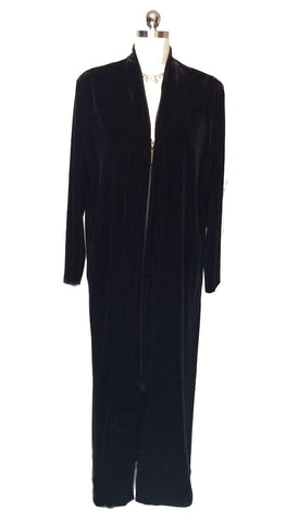 NEW - DIAMOND TEA LUXURIOUS VELOUR ZIP UP ROBE IN CAVIAR - SIZE EXTRA LARGE