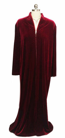 NEW - DIAMOND TEA LUXURIOUS ZIP UP FRONT VELOUR ROBE IN CRIMSON - SIZE SMALL - #1