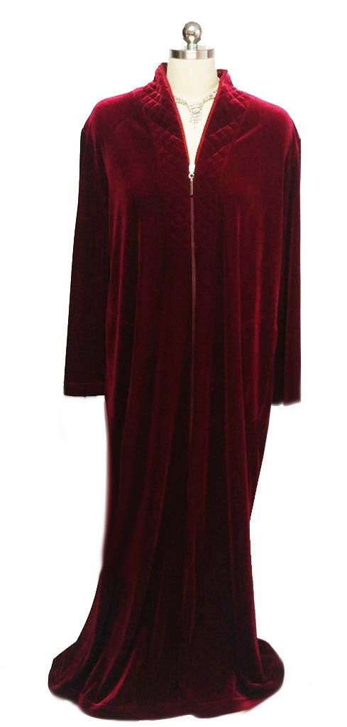 NEW - DIAMOND TEA LUXURIOUS ZIP UP FRONT VELOUR ROBE IN CRIMSON - SIZE SMALL - #2