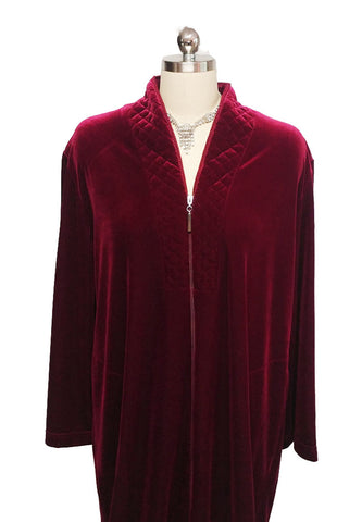M.G. #1327 - SOLD - NEW - DIAMOND TEA LUXURIOUS ZIP UP FRONT VELOUR ROBE IN CRIMSON - SIZE MEDIUM - ONLY 1 ROBE IN THIS SIZE & COLOR