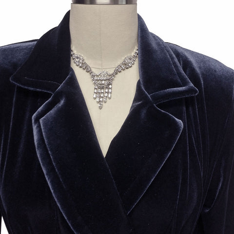 NEW - DIAMOND TEA LUXURIOUS WRAP-STYLE VELVET VELOUR ROBE IN MIDNIGHT NAVY - SIZE SMALL #2 - WOULD MAKE A WONDERFUL GIFT!