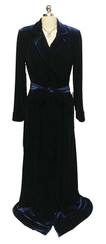 NEW - DIAMOND TEA LUXURIOUS WRAP-STYLE VELVET VELOUR ROBE IN MIDNIGHT NAVY - SIZE SMALL #1 - ONLY 2 IN STOCK - WOULD MAKE A WONDERFUL GIFT!
