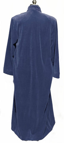 NEW - DIAMOND TEA LUXURIOUS ZIP UP PLEATED FRONT COTTON POLY VELOUR ROBE IN INDIGO- SIZE SMALL- ONLY 1 IN STOCK IN THIS SIZE & COLOR - WOULD MAKE A WONDERFUL CHRISTMAS GIFT!