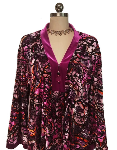NEW - DIAMOND TEA ZIP UP FRONT PLUSH BURNOUT VELVET VELOUR IN BOUGAINVILLA - WOULD MAKE A WONDERFUL GIFT