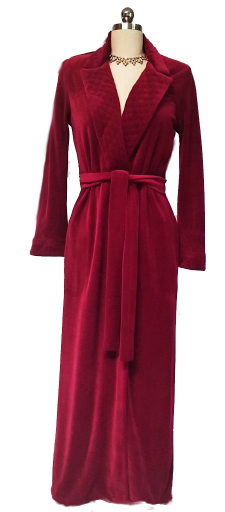 NEW - DIAMOND TEA SPANDEX COTTON VELOUR LUXURIOUS WRAP STYLE ROBE WITH NOTCHED QUILTED COLLAR IN SCARLET - SIZE EXTRA SMALL X/S