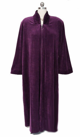 M.G. 1313 - SOLD -NEW - DIAMOND TEA LUXURIOUS ZIP UP FRONT VELOUR ROBE IN SUGAR PLUM - SIZE SMALL- ONLY 1 IN STOCK IN THIS SIZE & COLOR - WOULD MAKE A WONDERFUL CHRISTMAS GIFT