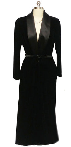 LUXURIOUS DIAMOND TEA PRE-OWNED WRAP ROBE WITH BLACK SATIN LAPELS IN EBONY - SIZE LARGE