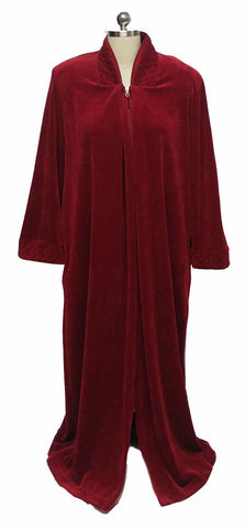 NEW - DIAMOND TEA LUXURIOUS ZIP UP FRONT COTTON VELOUR ROBE IN GARNET - SIZE LARGE