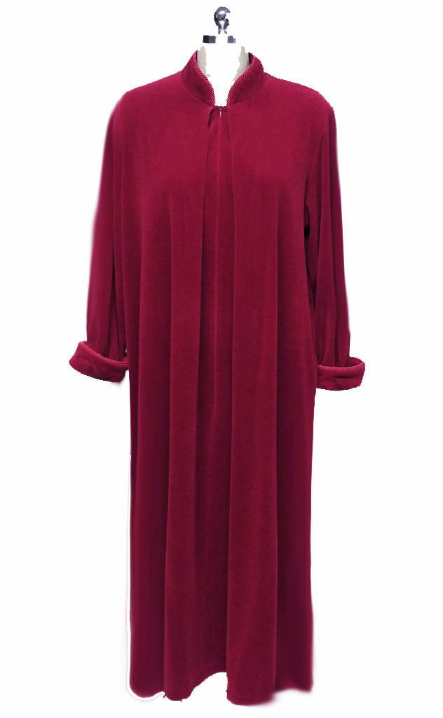 SOLD - DIAMOND TEA PRE-OWNED LUXURY VELVETY VELOUR ZIP UP ROBE IN TUSCAN RED - SIZE LARGE