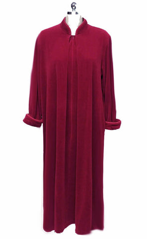 DIAMOND TEA PRE-OWNED LUXURY VELVETY VELOUR ZIP UP ROBE IN TUSCAN RED - SIZE LARGE