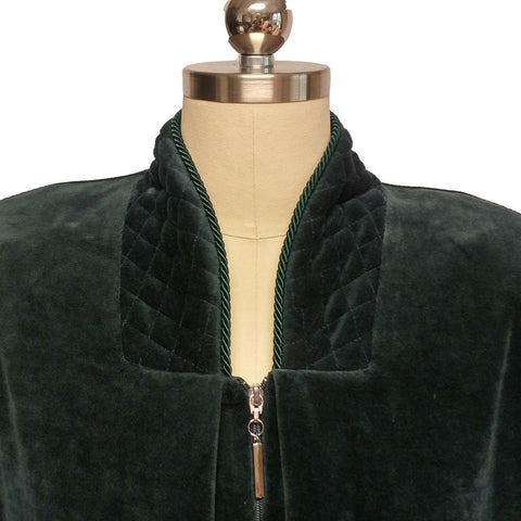 NEW - DIAMOND TEA COTTON VELOUR ROBE WITH ZIP UP FRONT & QUILTED TRIM IN ASPEN - SIZE LARGE- #1 - WOULD MAKE A WONDERFUL GIFT