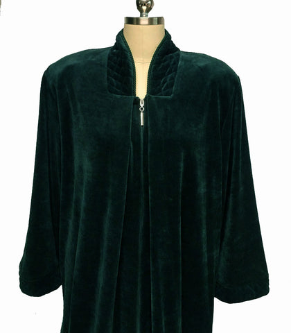NEW -  DIAMOND TEA COTTON VELOUR ROBE WITH ZIP UP FRONT & QUILTED TRIM IN ASPEN - SIZE EXTRA LARGE - XL - #2 - WOULD MAKE A WONDERFUL GIFT