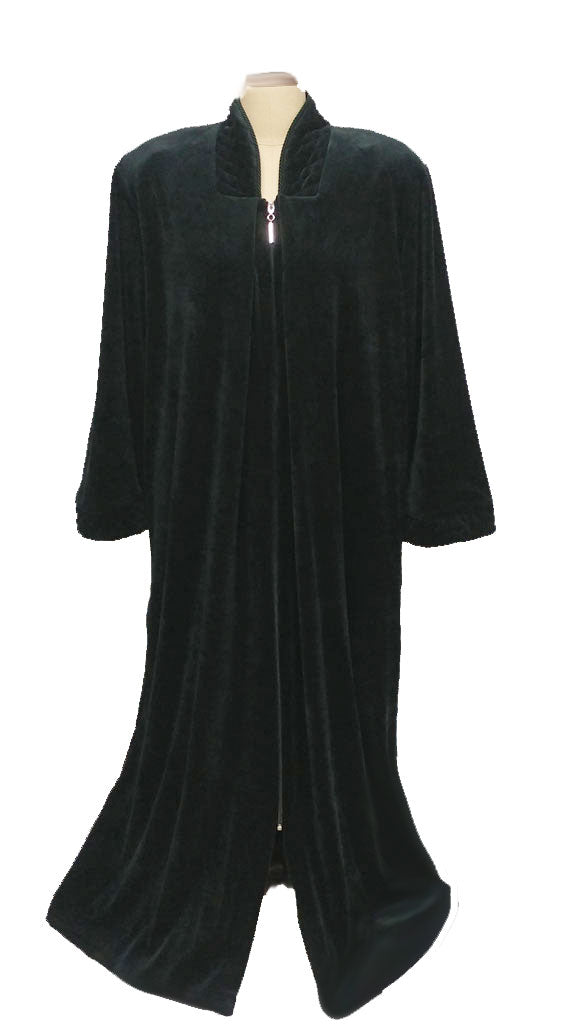 MG 1258 ORDER - SOLD - NEW -  DIAMOND TEA COTTON VELOUR ROBE WITH ZIP UP FRONT & QUILTED TRIM IN ASPEN - SIZE SMALL - #2 - WOULD MAKE A WONDERFUL GIFT