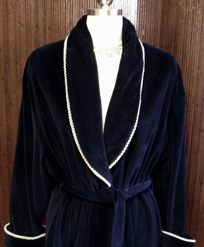DIAMOND TEA LUXURIOUS PRE-OWNED WRAP-STYLE COTTON VELVET VELOUR ROBE IN CLASSIC NAVY - SIZE LARGE