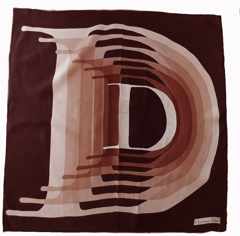 "EXQUISITE VINTAGE CHRISTIAN DIOR SILK LARGE ""D"" SCARF IN LOVELY NEUTRAL COLORS"