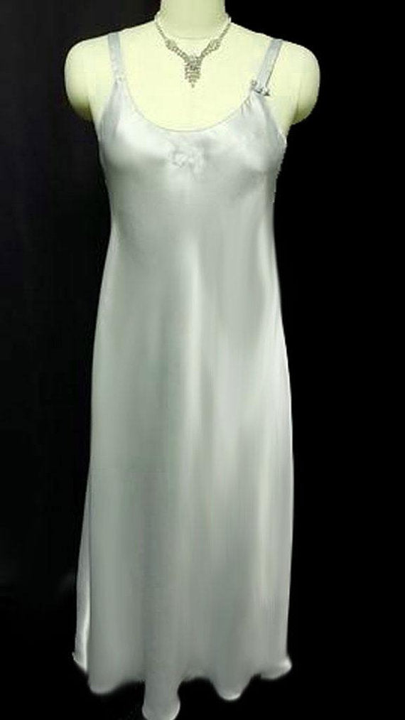 VINTAGE '80s CHRISTIAN DIOR SATIN NIGHTGOWN ADORNED WITH BOWS & DIOR LOGO IN WATERCRESS