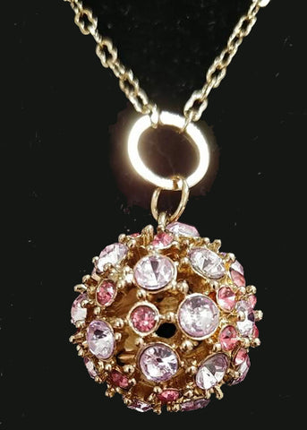 VINTAGE LAVENDER & PINK RHINESTONE DISCO BALL SPARKLING CHAIN NECKLACE