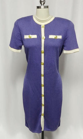 VINTAGE DON SAYRES FOR WELLMORE SAKS FIFTH AVENUE SANTANA KNIT DRESS IN HYACINTH